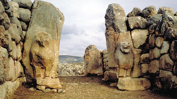 Lion gate at Bogazkoy where 1400 BC inscription with Vedic Gods was discovered