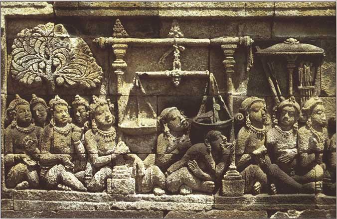 King Sibi weighing his Thigh Flesh.Sculpture, Borobudur