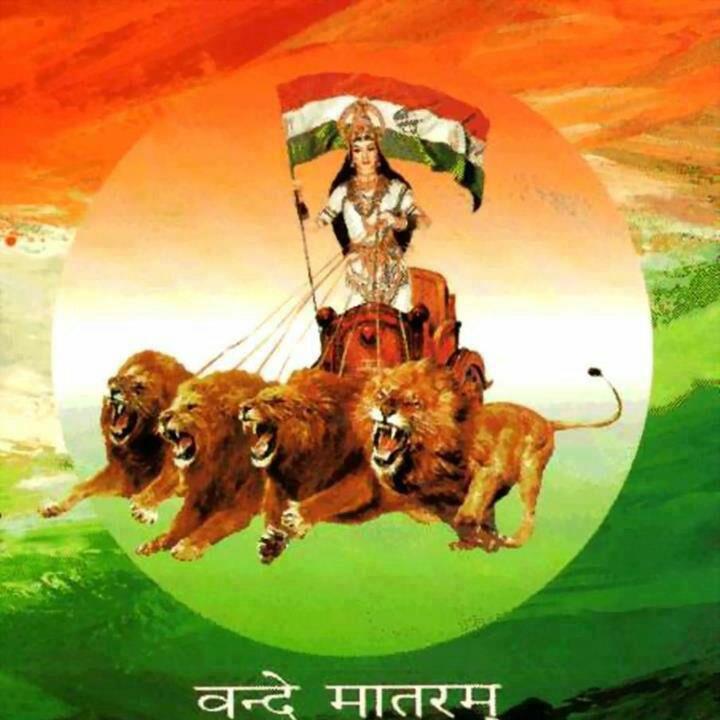 bharatmata on lion