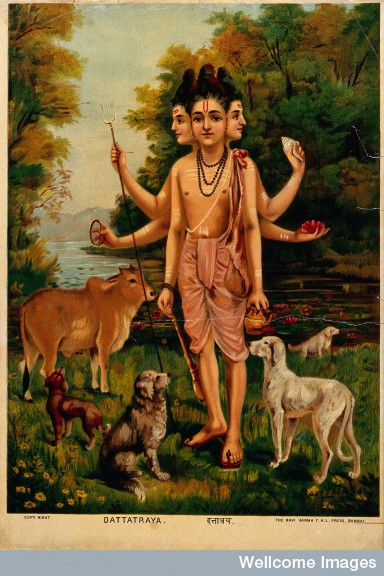V0045119 Dattatreya with his four dogs and cow. Chromolithograph