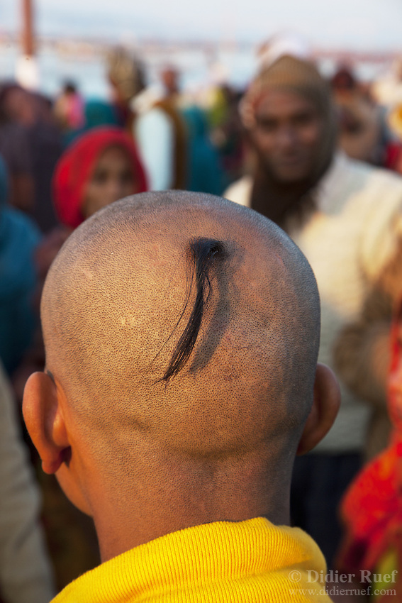 Maha Kumbh Mela. Man. Skull. Shaved. Worship.