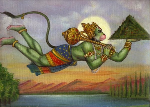 hanuman with hill