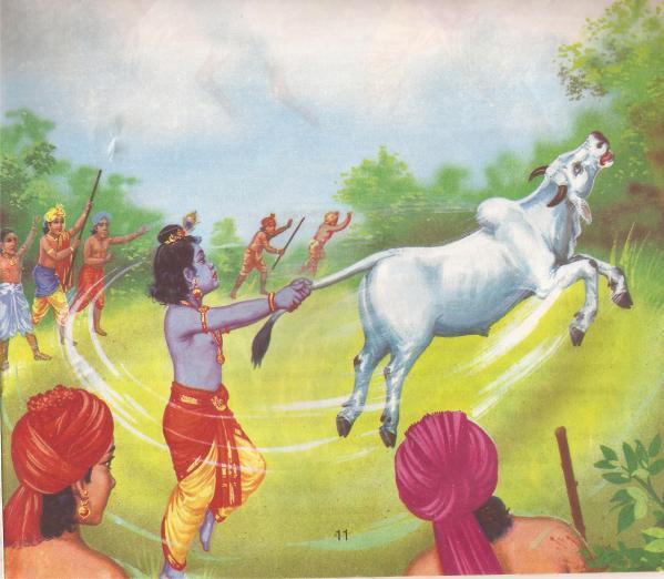 krishna throwing calf