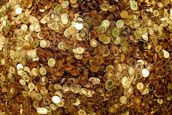 File photo of Swiss Francs five cent coins heaped in a pile in the old vault  of the former Schweizerische Volksbank in Basel