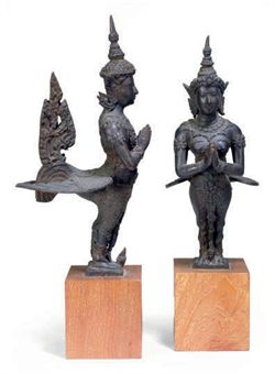 two_thai_bronze_kinnara_