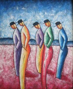 Five-Men-with-Cap-Oil-Painting