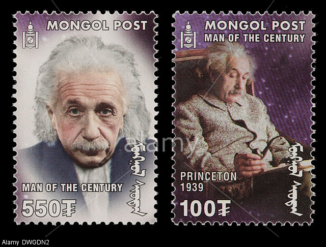 DWGDN2 Two Mongolia postage stamps featuring Albert Einstein. In one he is sitting in a chair, holding a pipe; the other is a portrait.