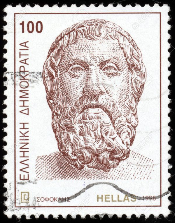 GREECE - CIRCA 1998: A postage stamp printed in the Greece shows bust of ancient Greek Tragedian Sophocles, circa 1998