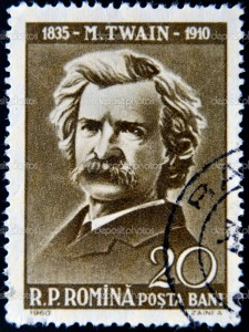 ROMANIA - CIRCA 1960: stamp printed by Romania show Mark Twain, circa 1960.