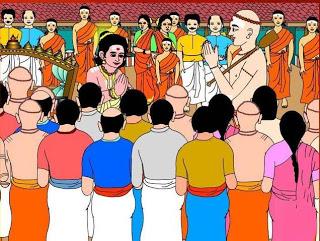 Boy saint Sambandhar meeting Appar the great.
