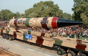 The AGNI-III (Strategic System) passes through the Rajpath during the 60th Republic Day Parade-2009, in New Delhi on January 26, 2009.