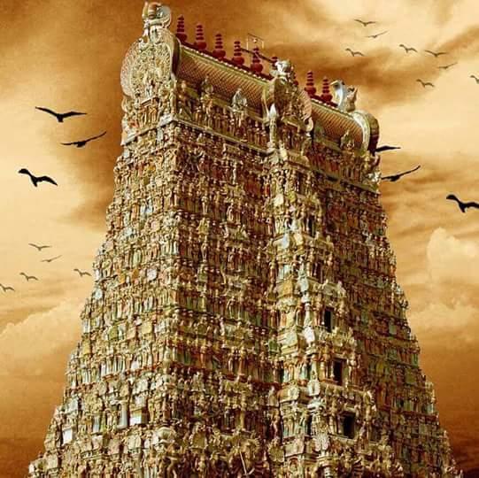 birds, gopuram