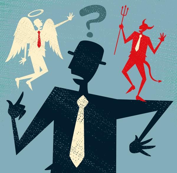 Abstract Businessman has a Moral Dilemma.