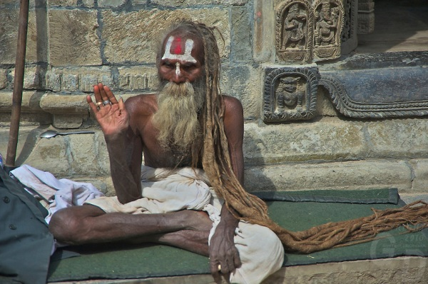 A over 100 year old Sadhu at the Shambhu Nath Hindu Cremation Area, Kathmandu Nepal