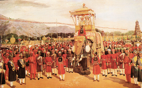 Mysore Palace - Dasara procession mural