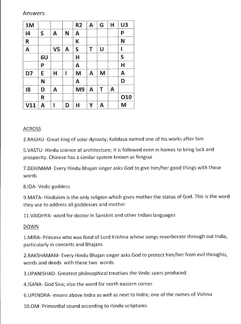 English Cross word | Tamil and Vedas | Page 8
